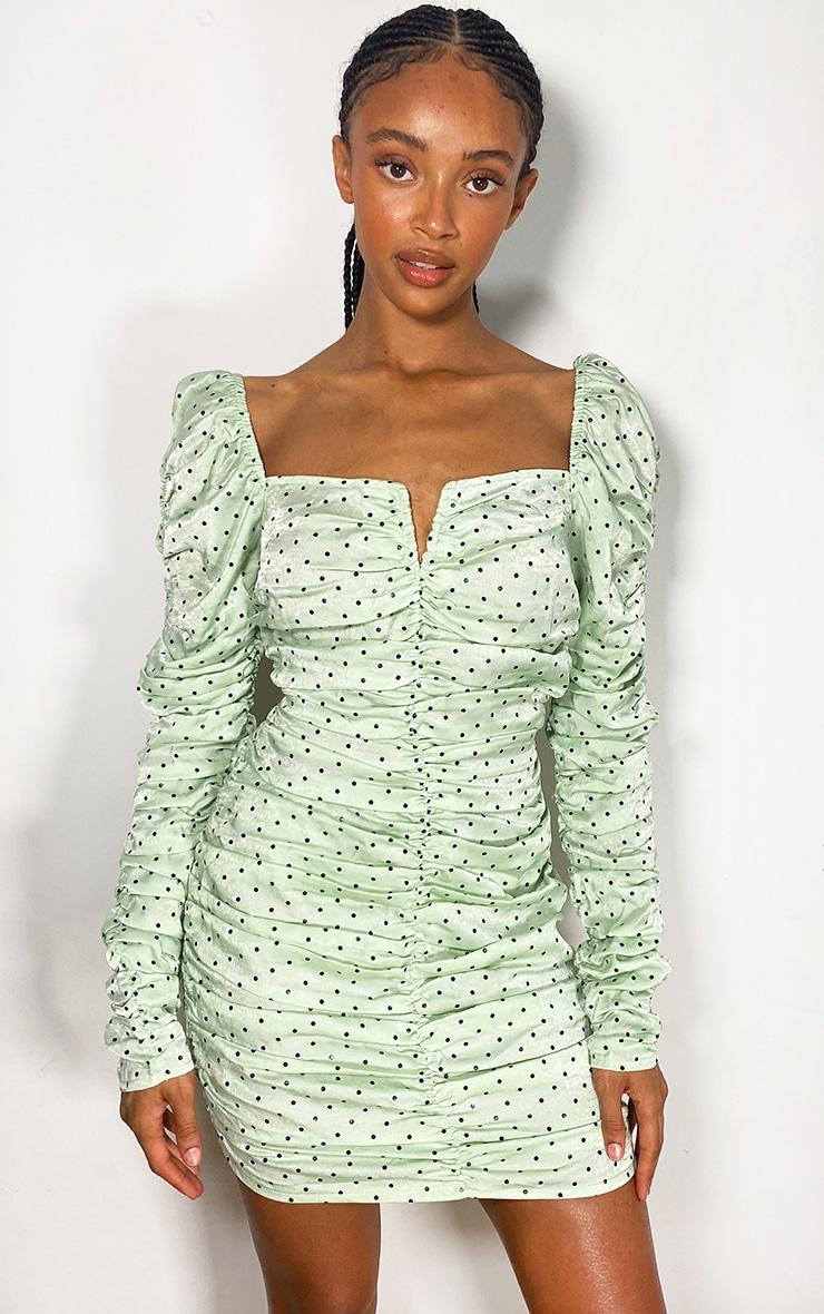 Sage Green Polka Dot Satin Long Sleeve Ruched V Neck Bodycon Dress 1
