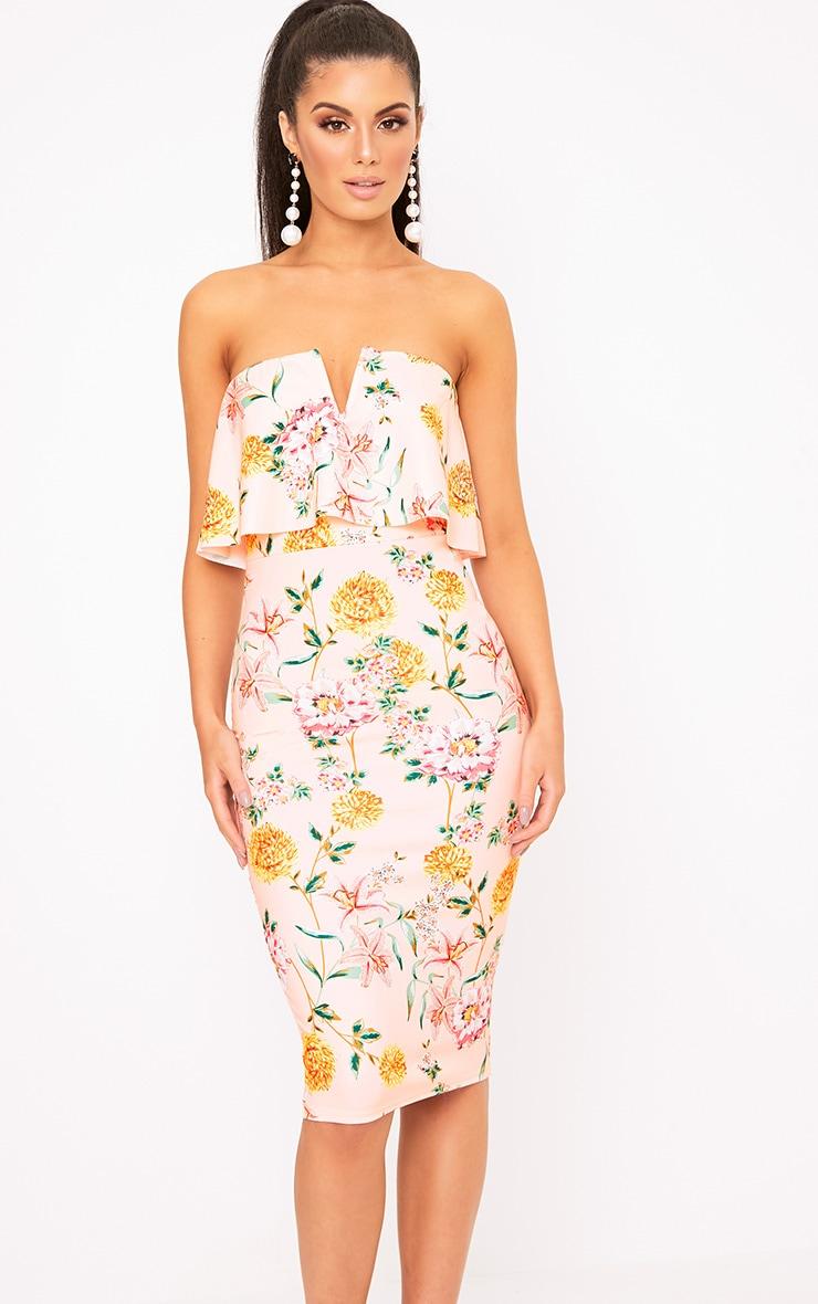 Norie Nude Floral Bandeau Midi Dress 1