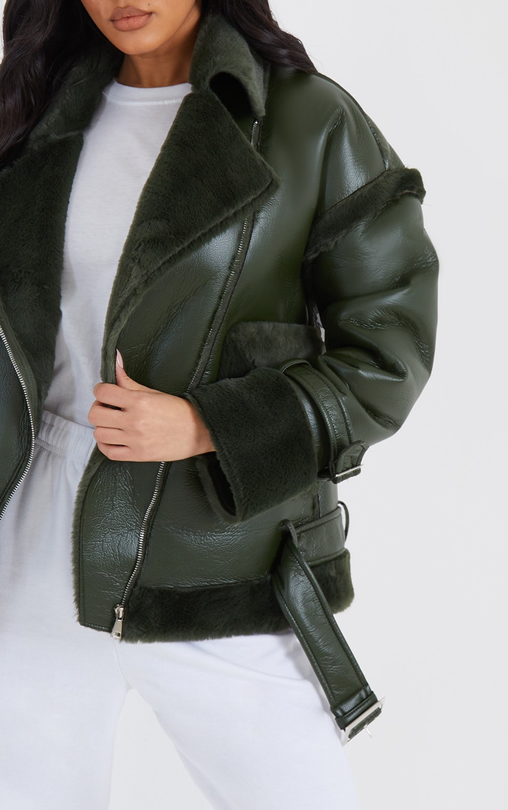 Khaki PU Outer Pocket Belted Oversized Faux Fur Lined Aviator 4