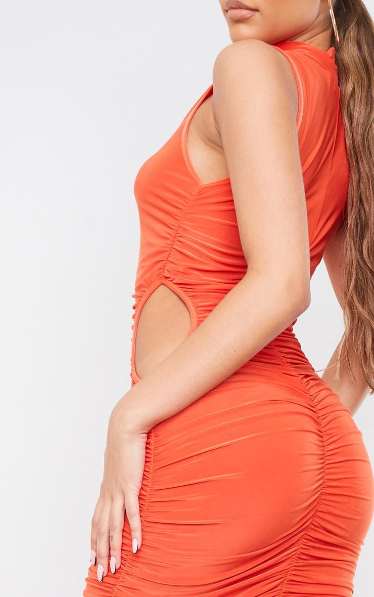 Orange Slinky High Neck Sleeveless Ruched Midaxi Dress 4