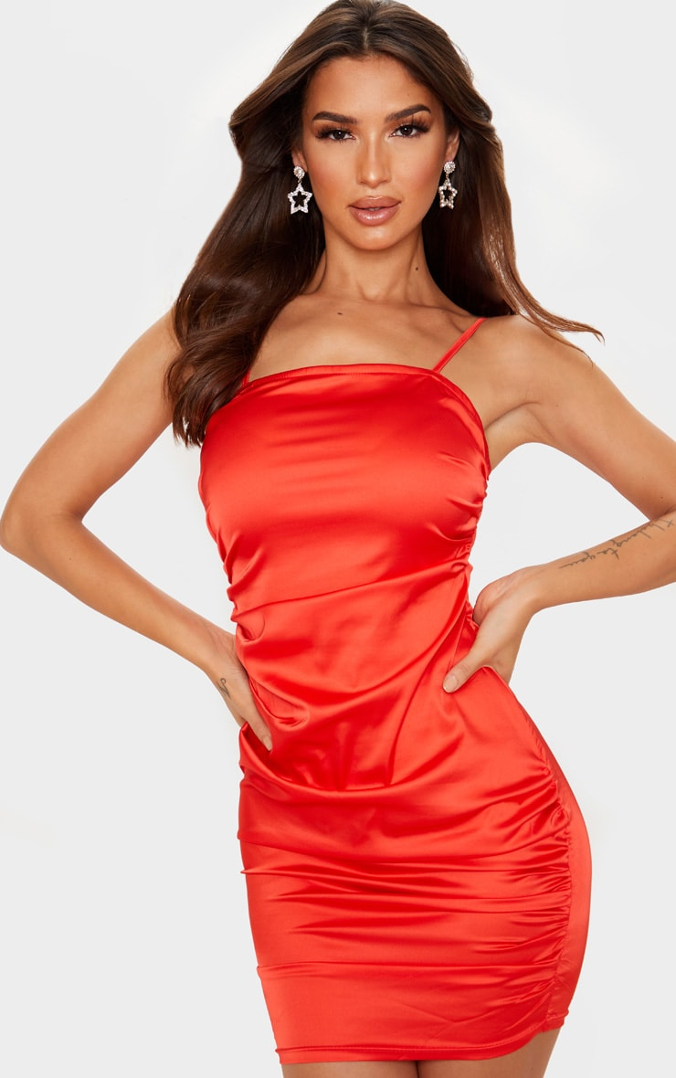 Red Ruched Strappy Satin Bodycon Dress 4