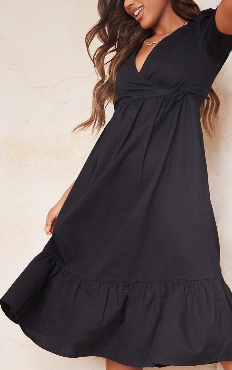 Black Woven Wrap Tie Detail Puff Sleeve Smock Midi Dress 4