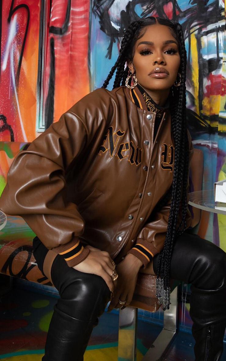 Chocolate PU Embroidered Bomber Jacket 1