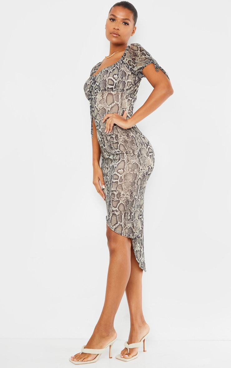 Stone Snake Print Mesh Short Sleeve Midi Dress 3