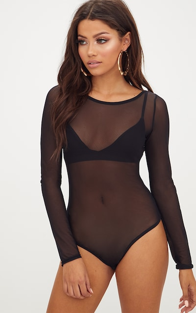 Black Mesh Crew Neck Longsleeve Thong Bodysuit 5f23cd92d