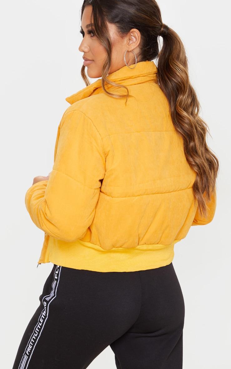 Mustard Peach Skin Cropped Puffer Jacket 2