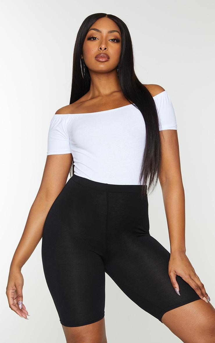 Basic White Cotton Blend Short Sleeve Bardot Bodysuit 1
