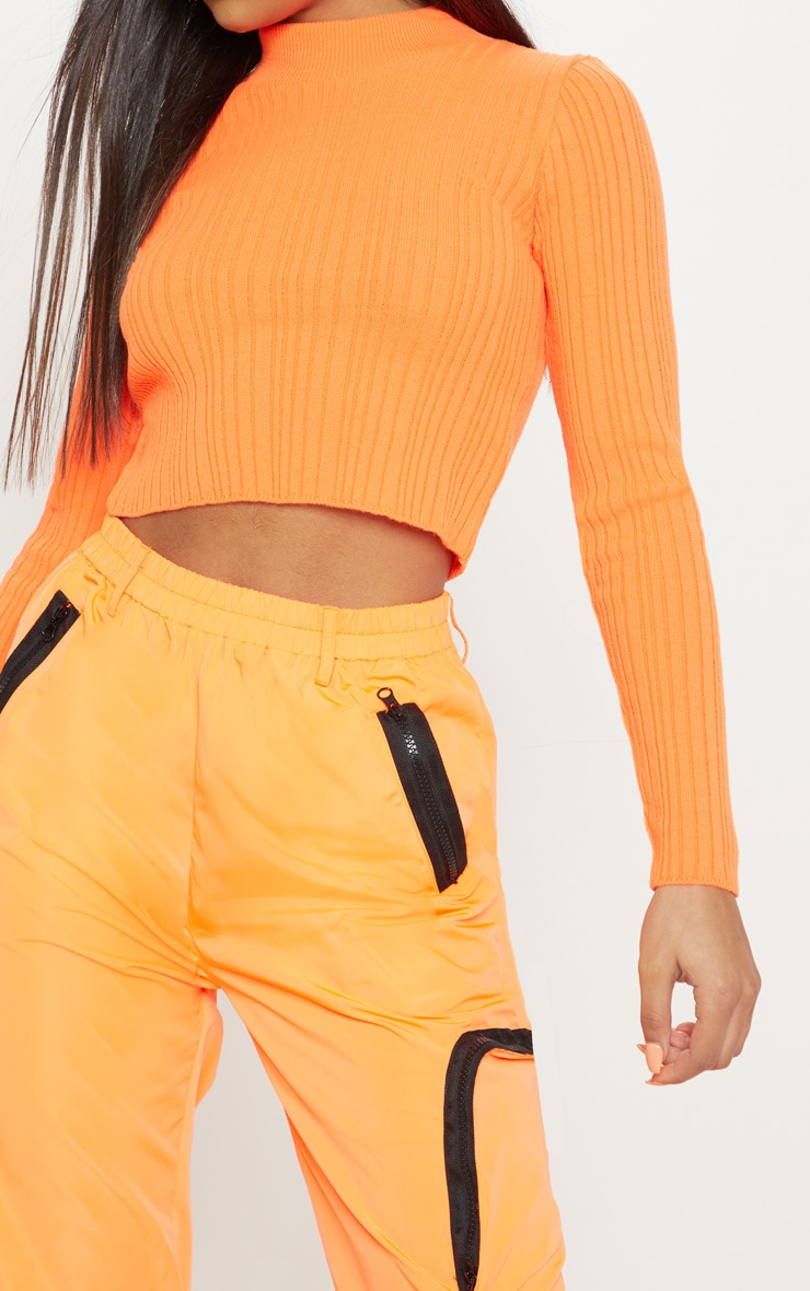 Bright Orange High Neck Knitted Rib Top  5