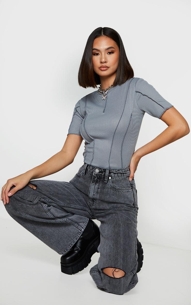 Grey Rib Short Sleeve Seam Detail Bodysuit 3