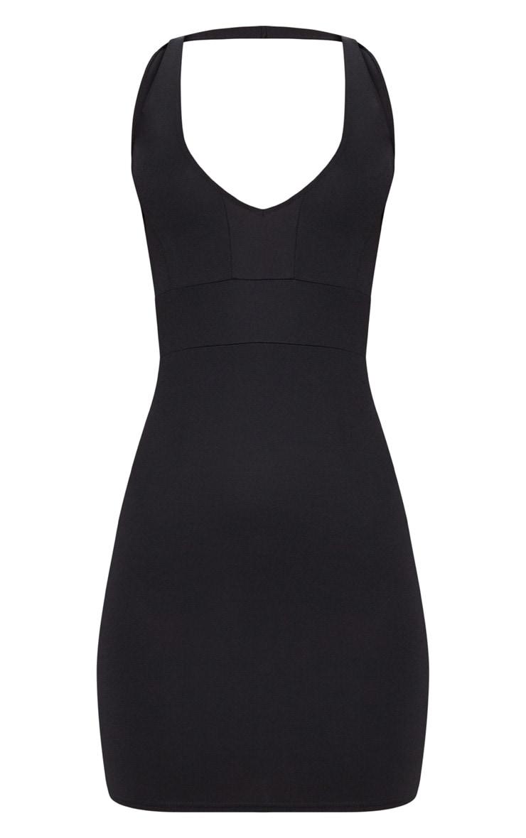 Black Halterneck Strap Detail Bodycon Dress 3