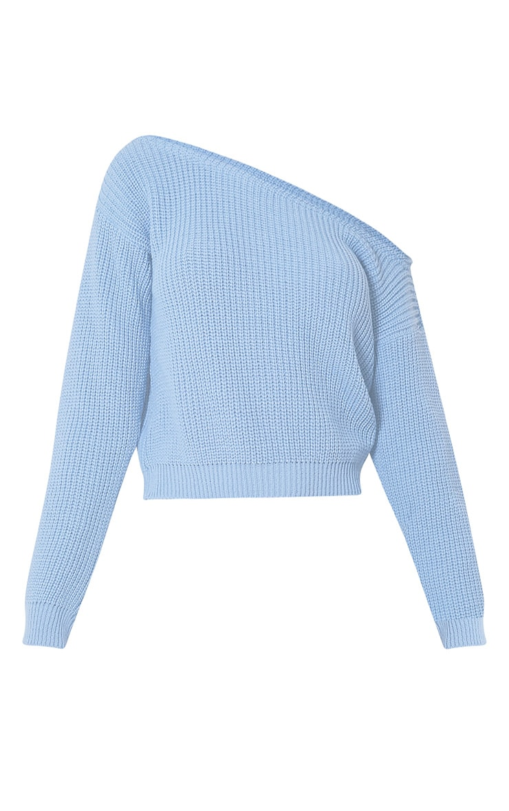 Dusty Blue Off The Shoulder Crop Jumper 3