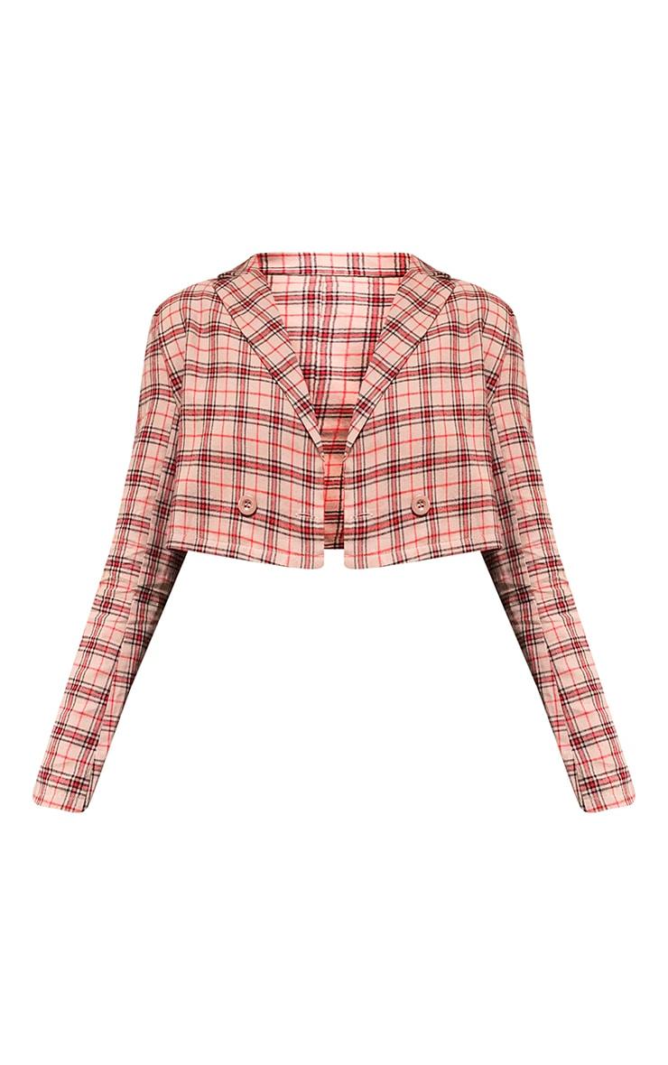 Camel Shoulder Pad Crop Long Sleeve Check Shirt 5
