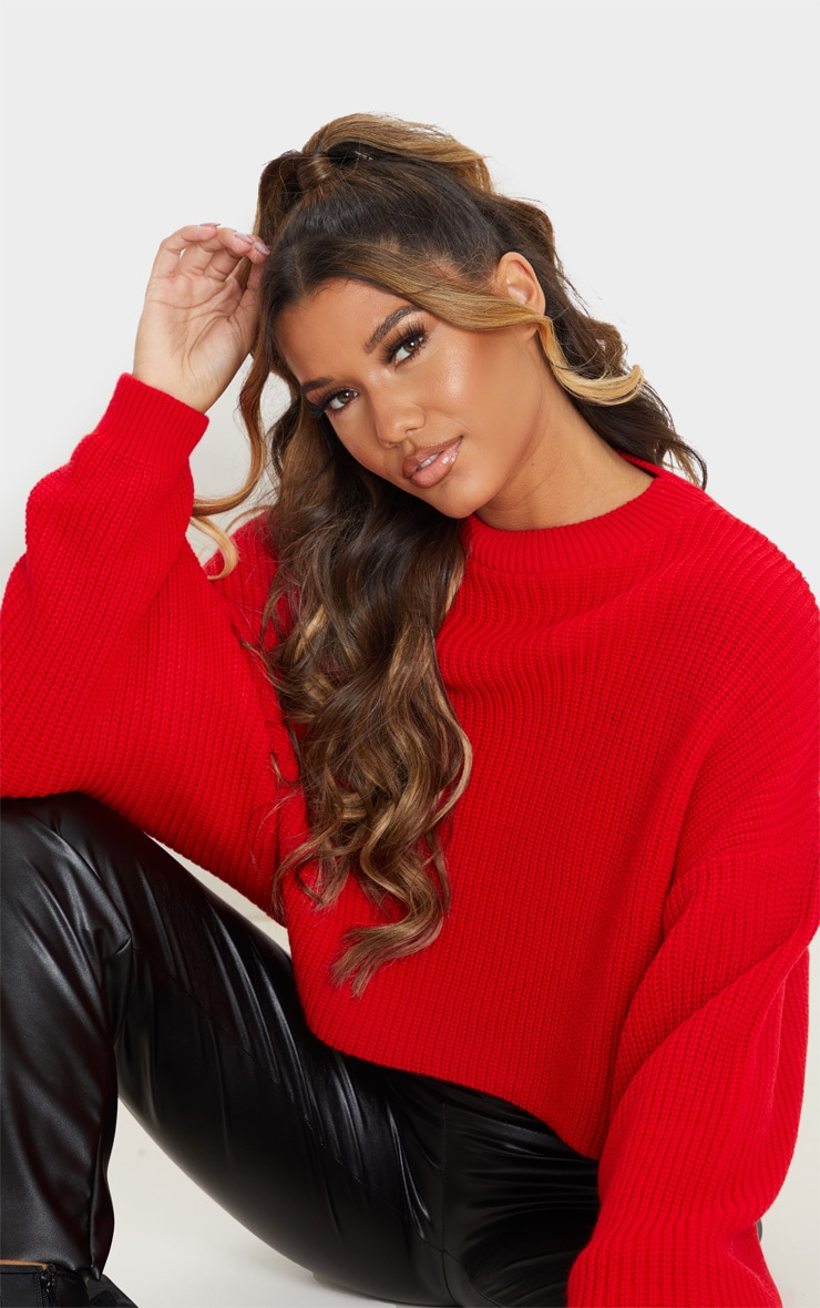 Red Fisherman Knit Batwing Crop Sweater 5