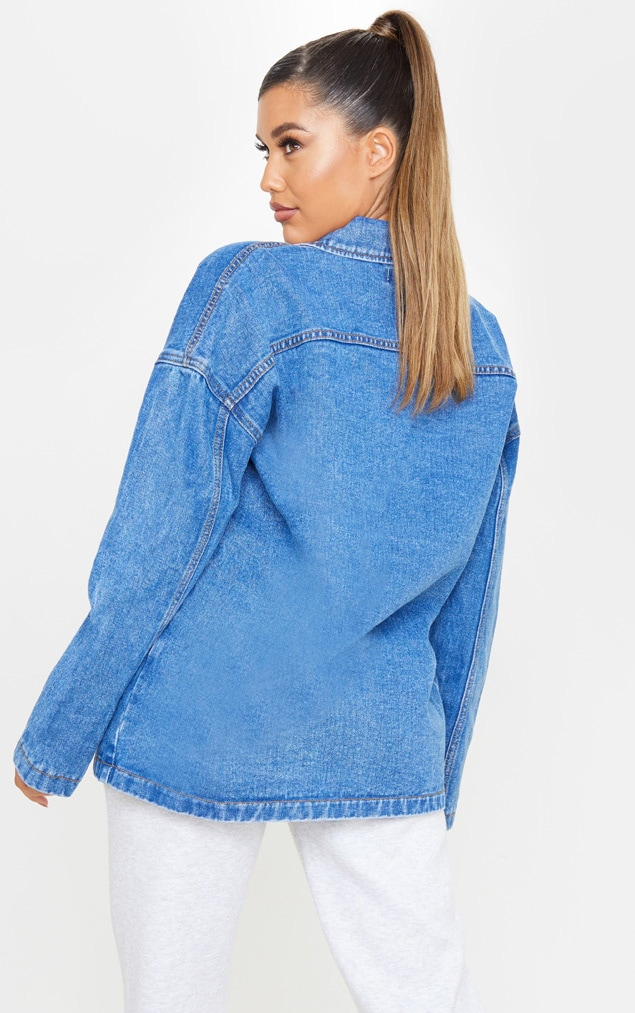 Mid Wash Oversized Boyfriend Trucker Denim Jacket 2