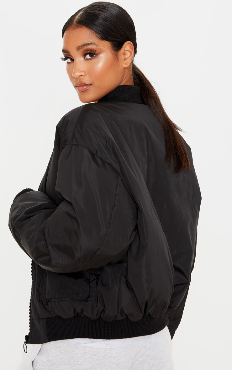 Black Pocket Zip Up Bomber Jacket 2