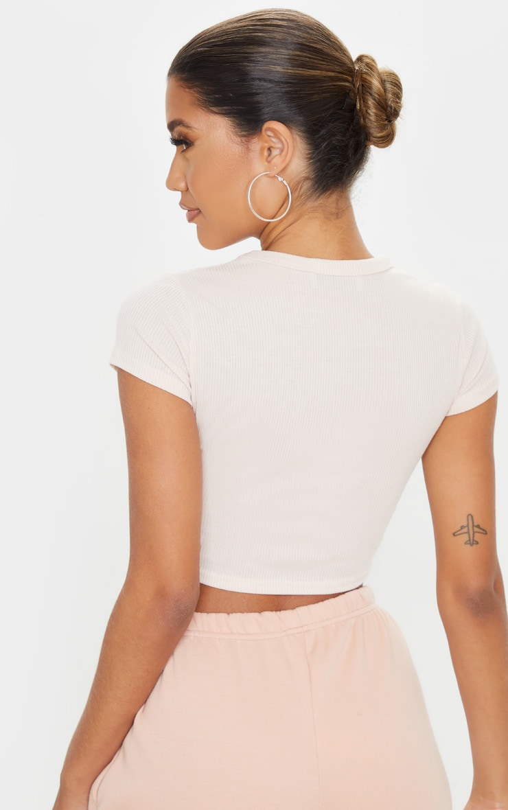 Blush Rib Crop T Shirt 2