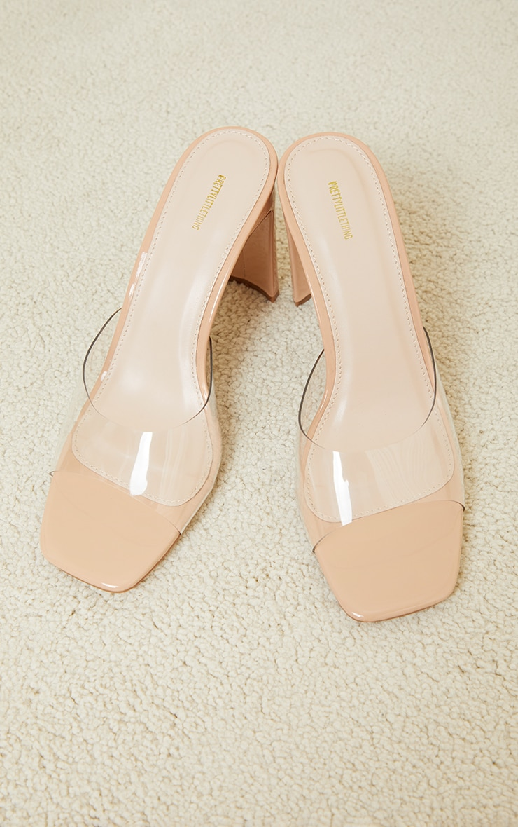 Nude Clear Low Flat Heeled Mules 3