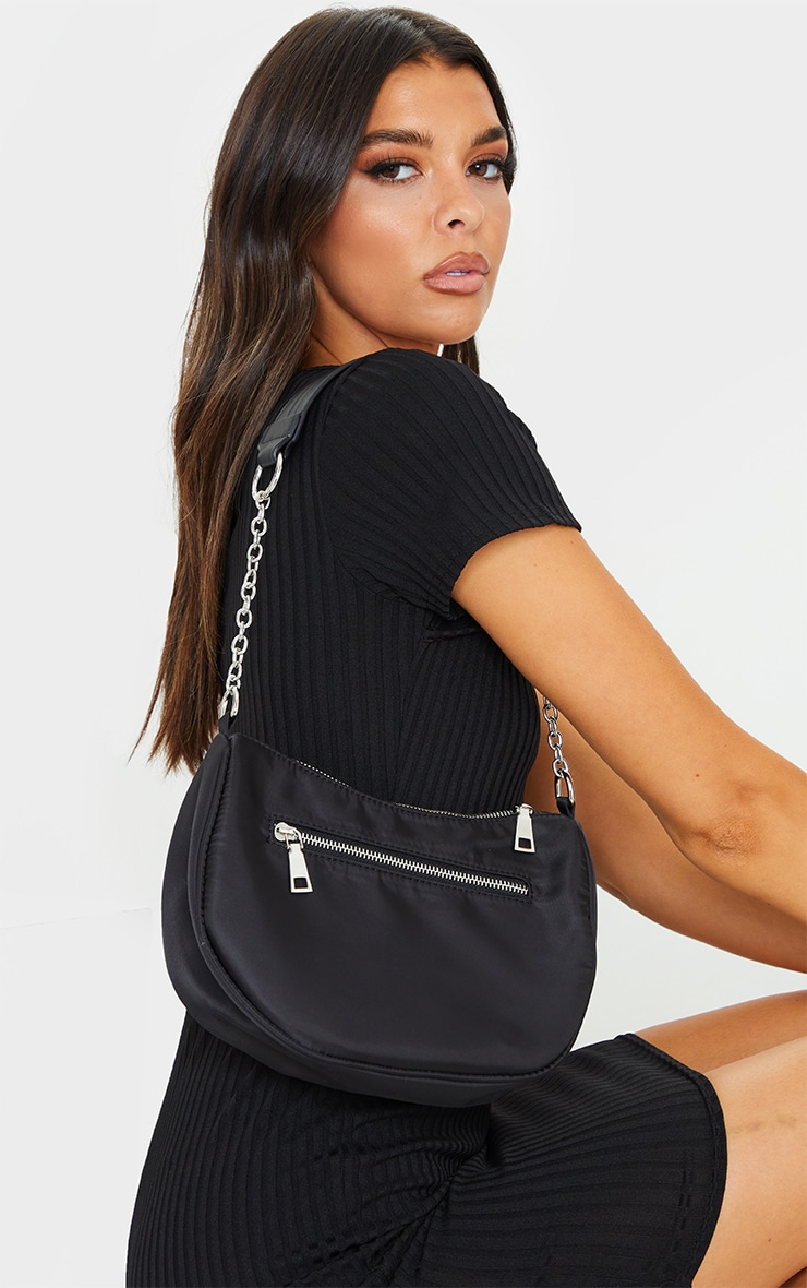 Black With Silver Chain Shoulder Bag 1
