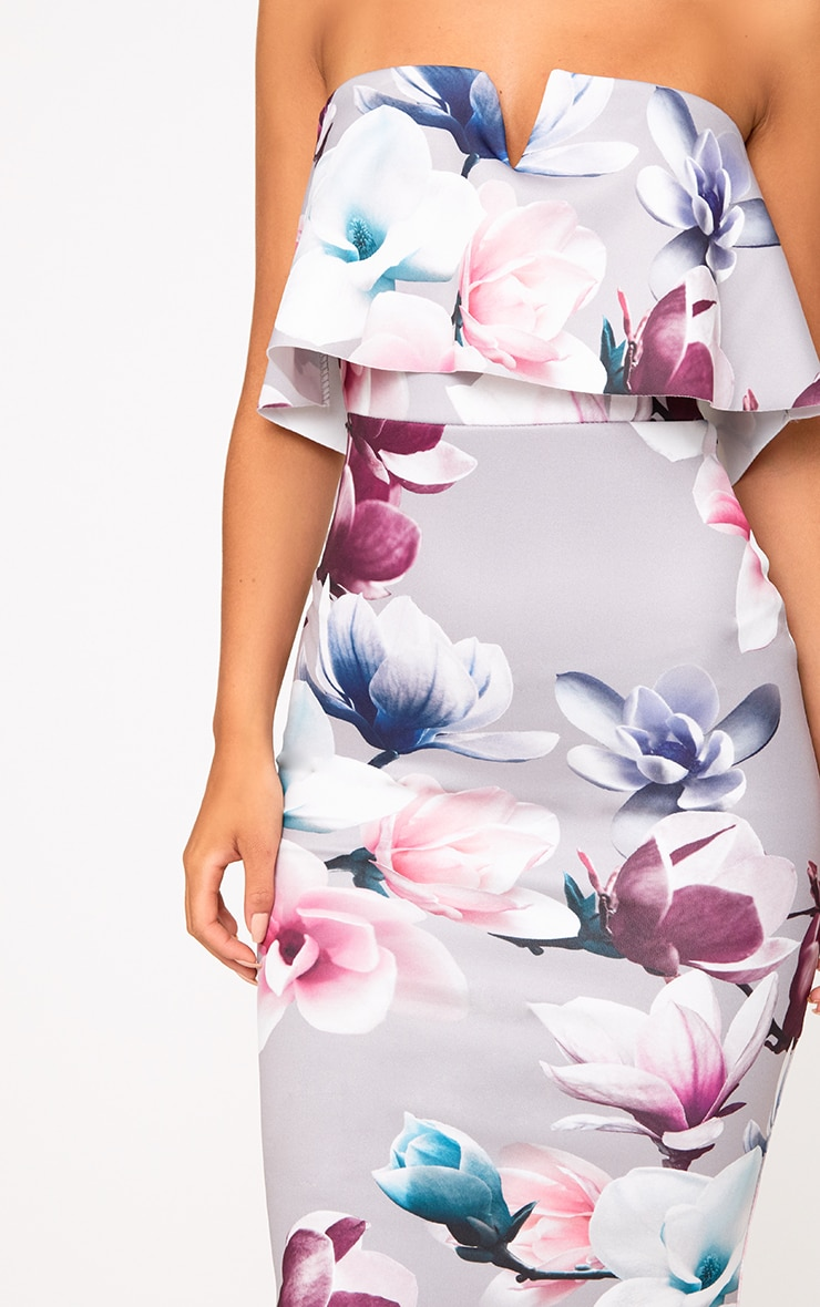 Grey Floral Bandeau Midi Dress 4