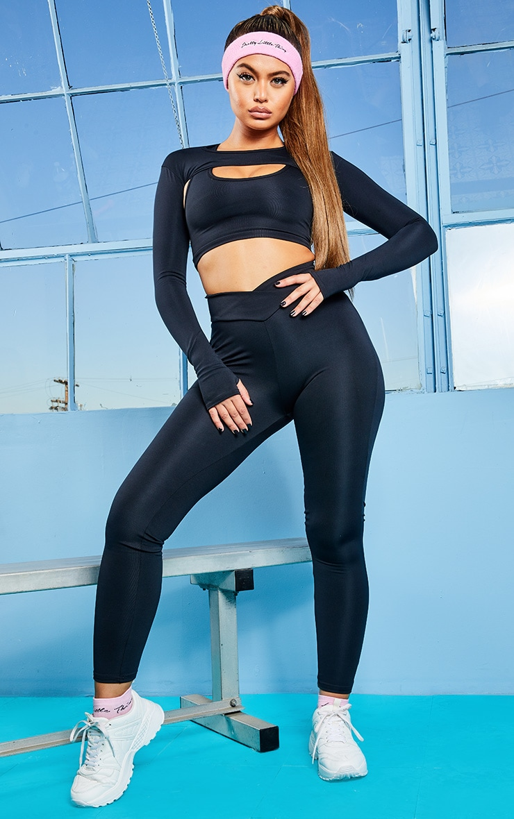 Black V Front Gym Leggings 1