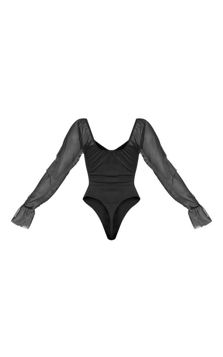 Black Rib Mesh Sleeve Bodysuit 2