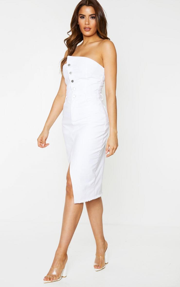 Tall White Asymmetric Denim Midi Dress 3