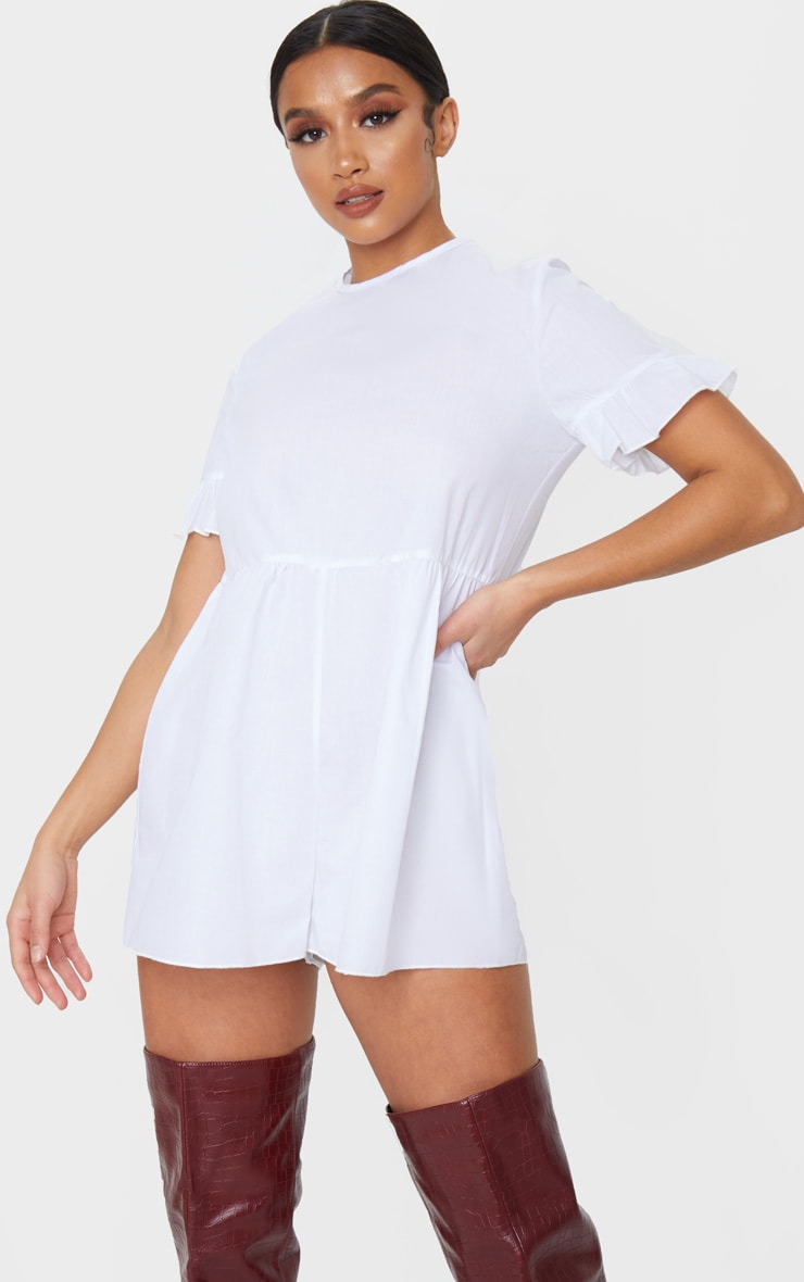 Petite White Oversized Woven Smock Playsuit 1