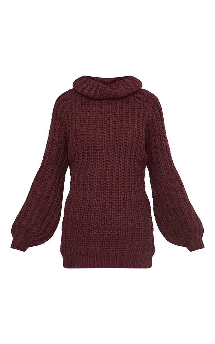 Shainel Burgundy Roll Neck Chunky Knit Jumper 3