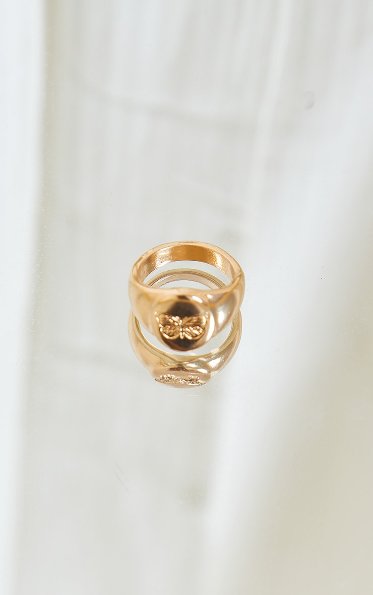 Gold Embroidered Butterfly Ring 3