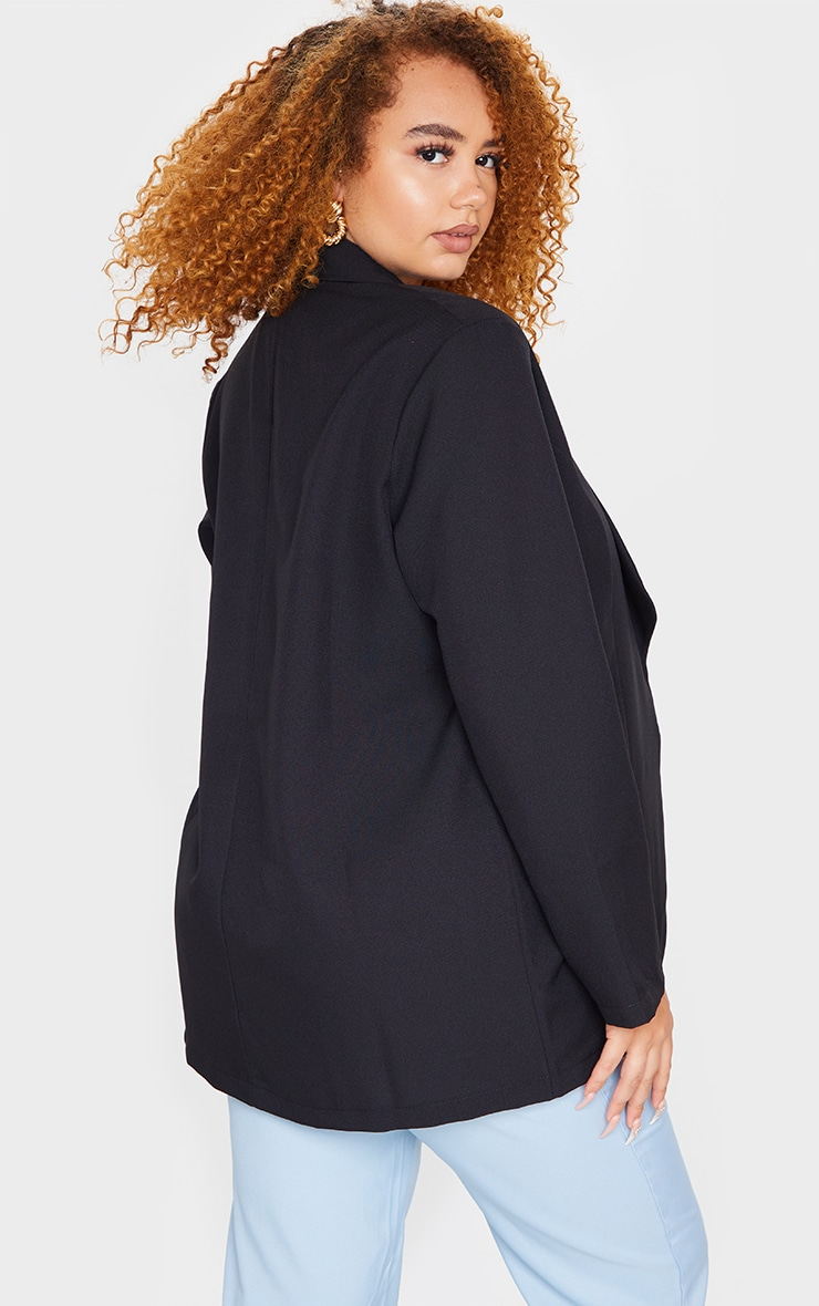 Plus Black Curved Lapel Woven Longline Blazer 2