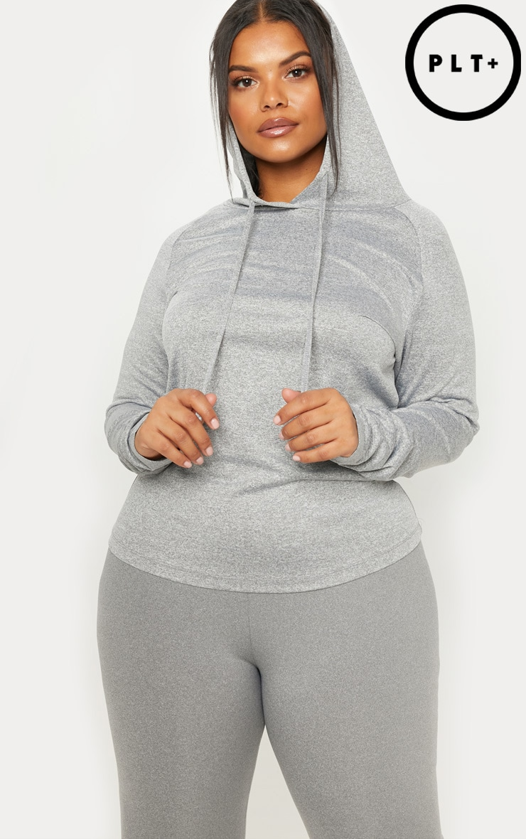 Plus Grey Marl Long Sleeve Hooded Gym Top
