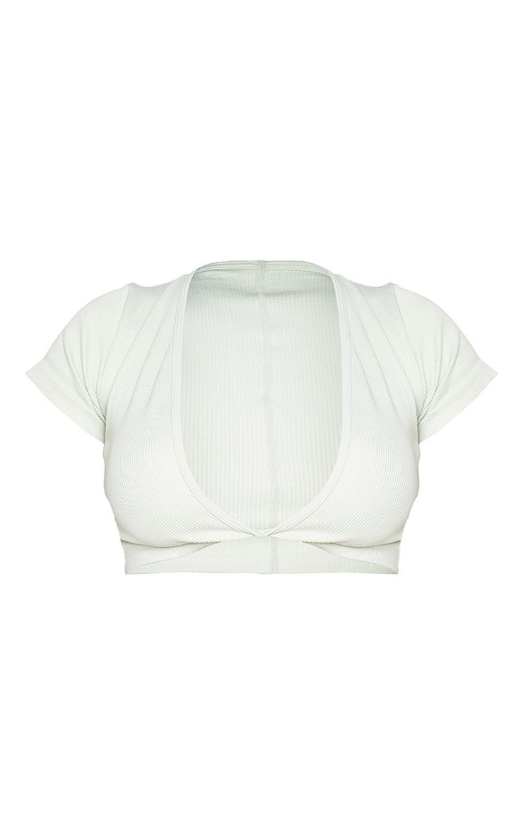 Shape Mint Contour Short Sleeve Ribbed Twist Detail Crop Top 5