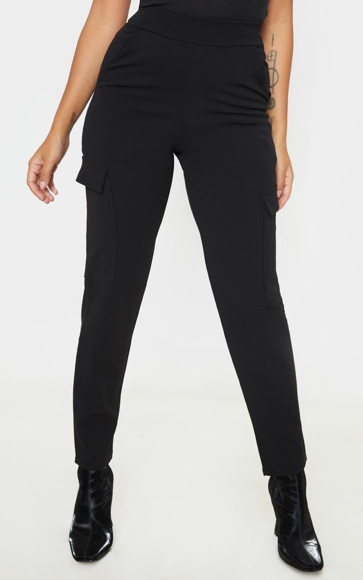 Petite - Pantalon en crêpe noir style cargo 2