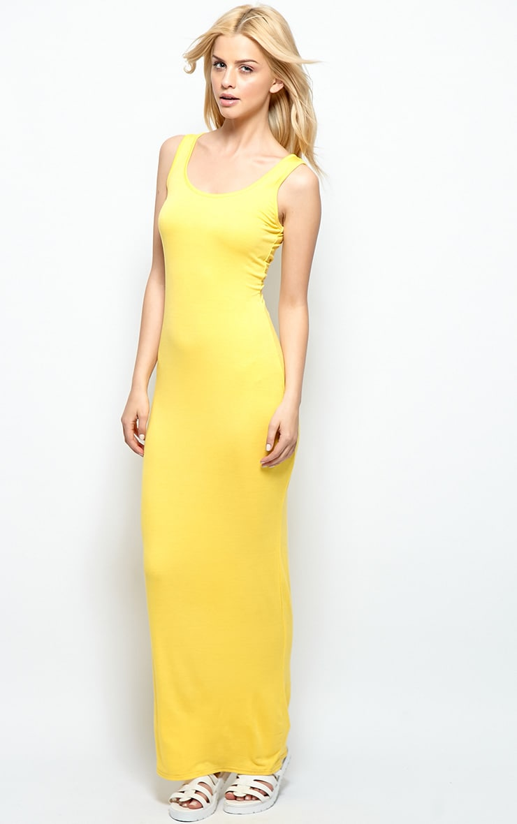 Zoe Yellow Jersey Scoop Neck Maxi Dress 3
