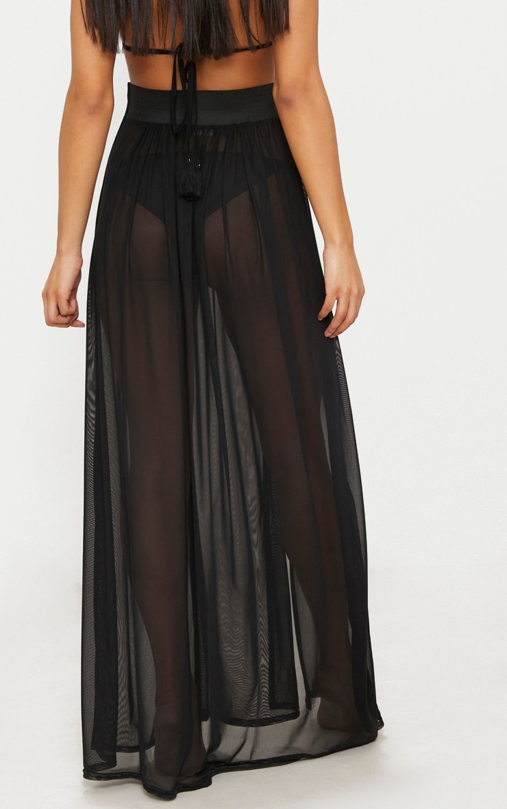 Minah Black Mesh Maxi Skirt 3