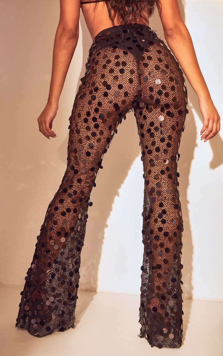 Black Sequin Fishnet Flare Trousers 3