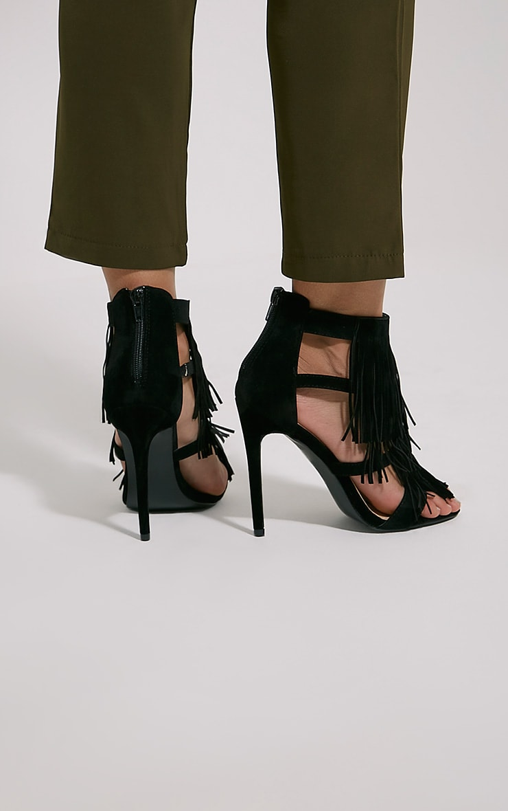 Taysa Black Tassel Heeled Sandals 2