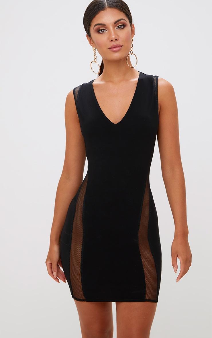 Black Plunge Fishnet Detail Bodycon Dress 1