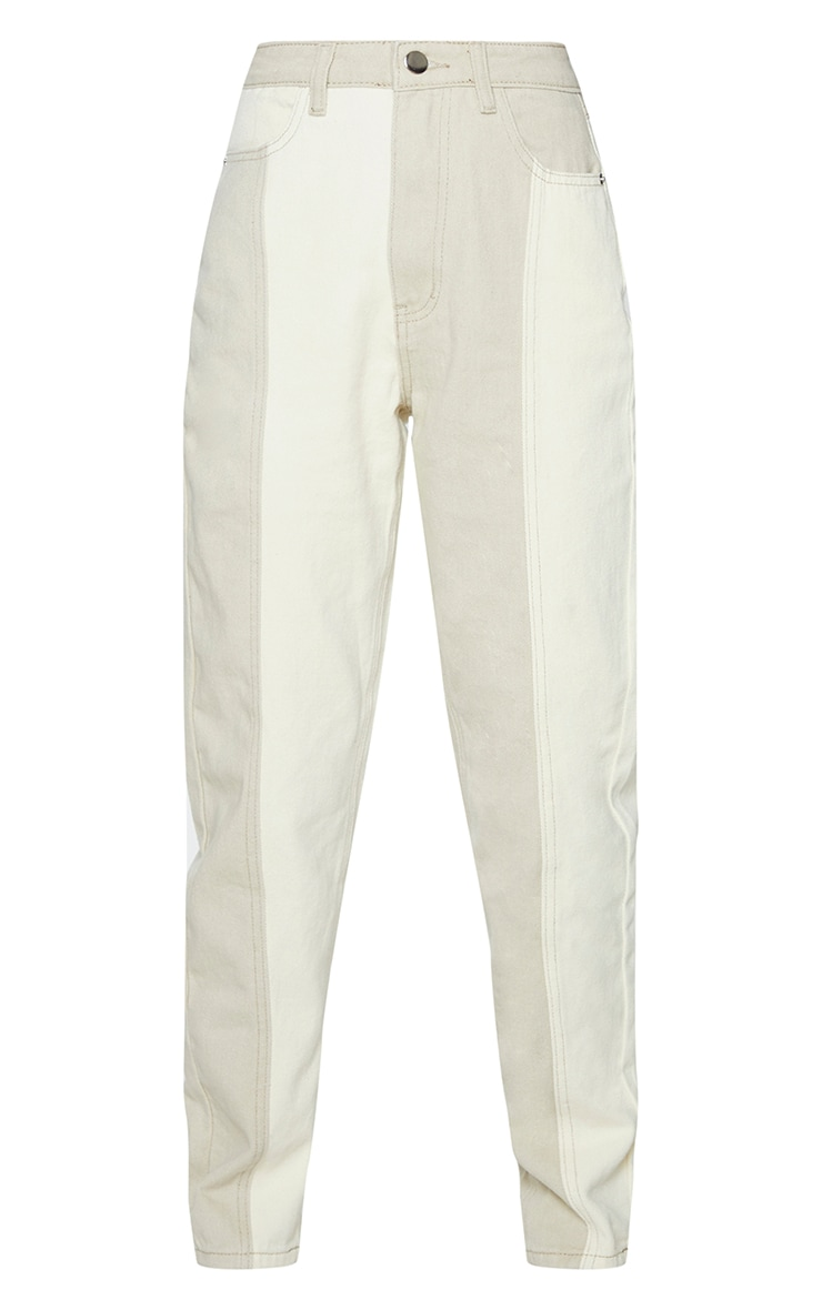 Cream Two Tone Contrast Mom Jeans 5
