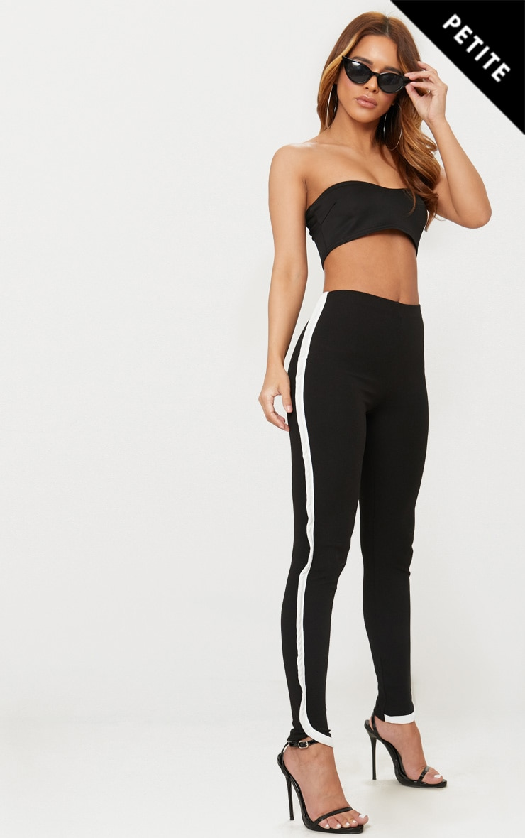 Petite Black Contrast Skinny Trousers 1