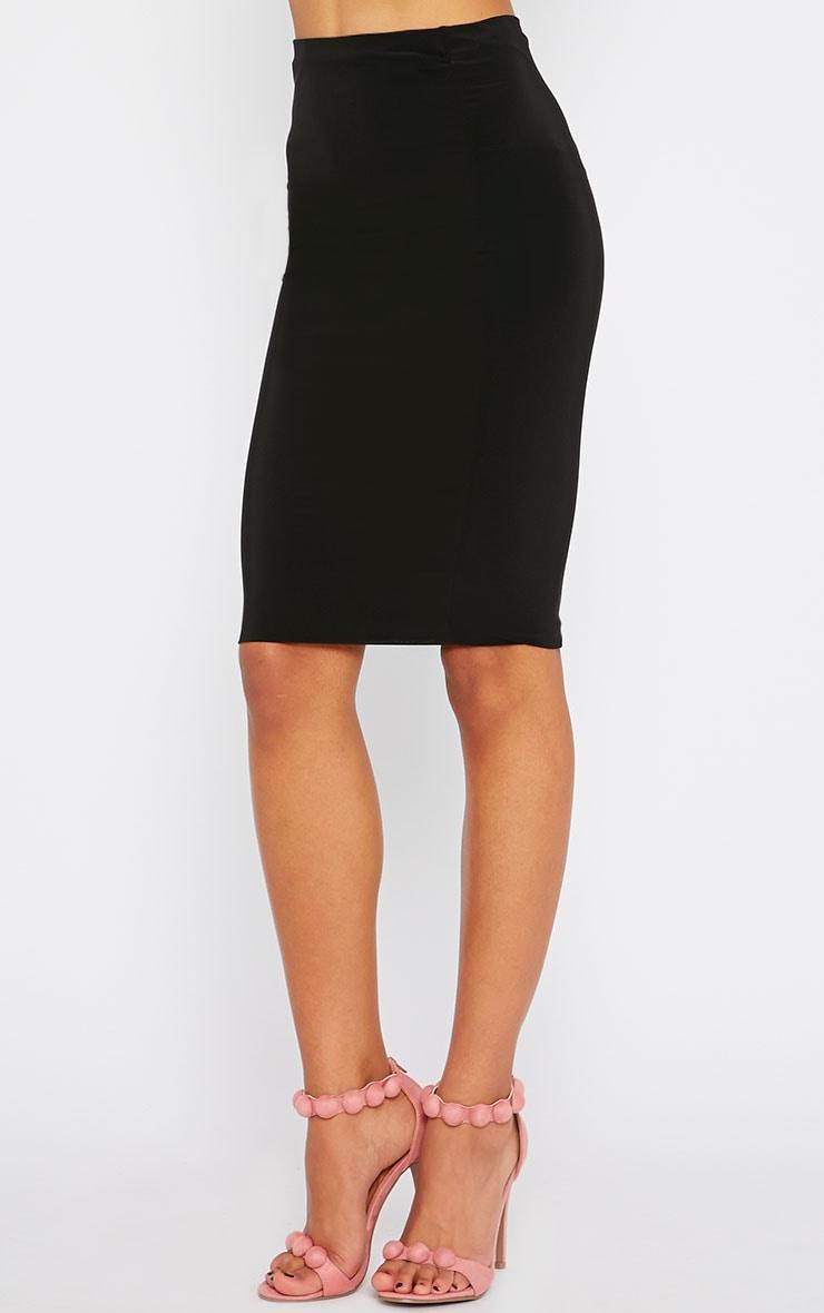 Arabella Black Slinky Midi Skirt 3