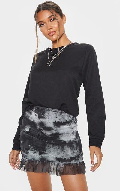 Black Mesh Tie Dye Frill Hem Mini Skirt