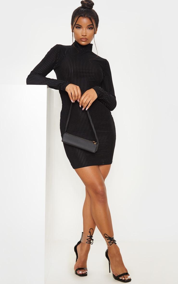 Black High Neck Velvet Sheer Rib Bodycon Dress 1