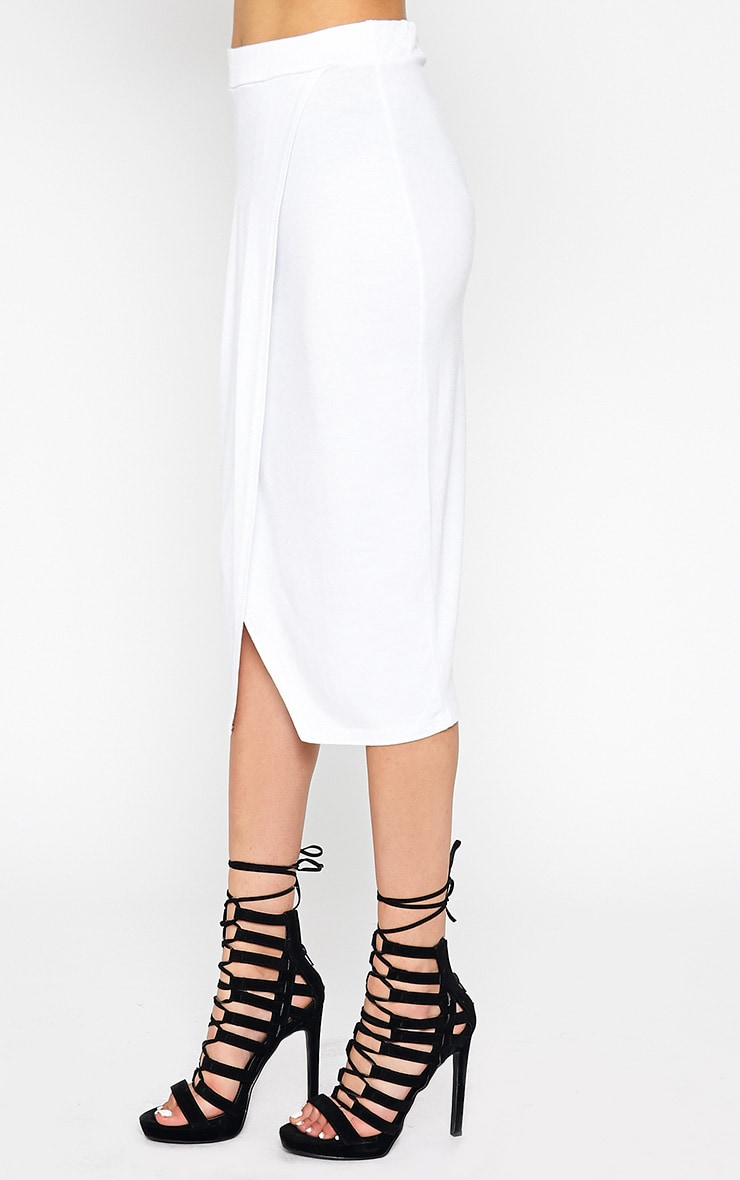 Sabbina White Jersey Wrap Midi Skirt 3