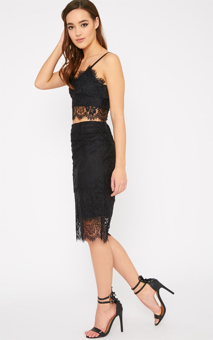 Ceri Black Lace Midi Skirt  4