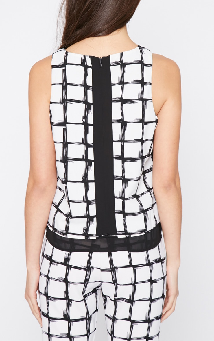 Catori White Checked Vest 2