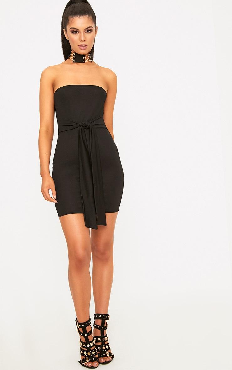 Black Bandaeu Tie Front Bodycon Dress 4