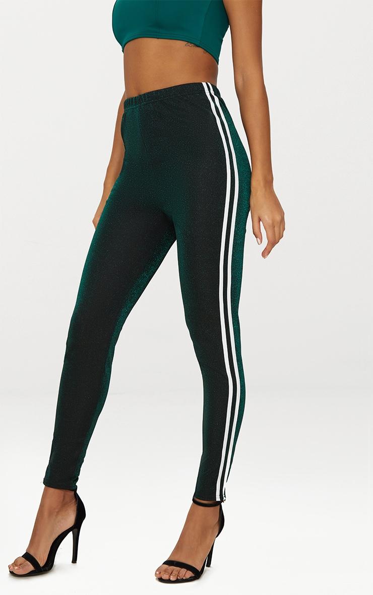 Khaki Glitter Track Stripe Leggings 2