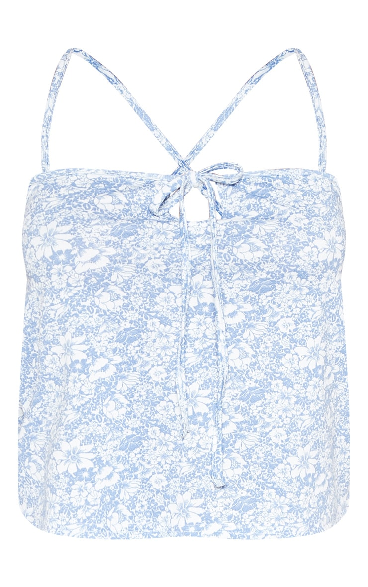 Blue Printed Tie Front Cami Top 3
