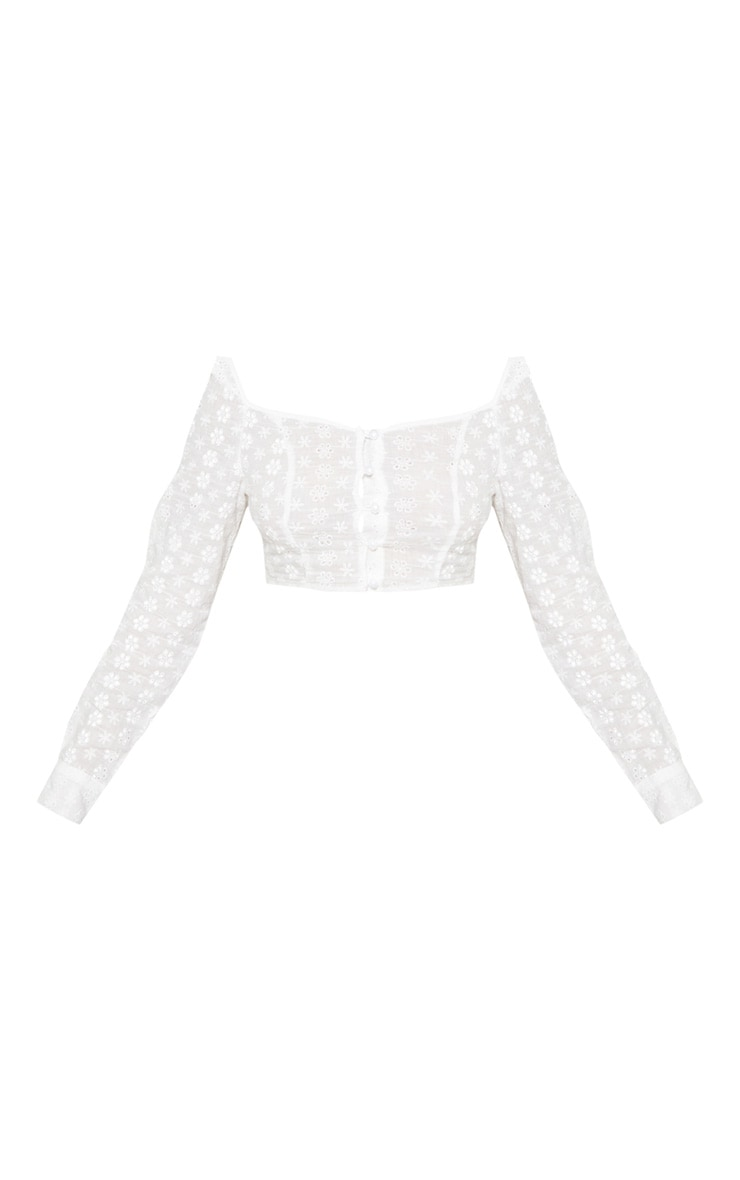 Petite White Cropped Broderie Anglaise Long Sleeve Top 3